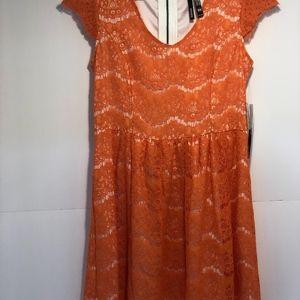 Kensie orange lace dress with fun zipper